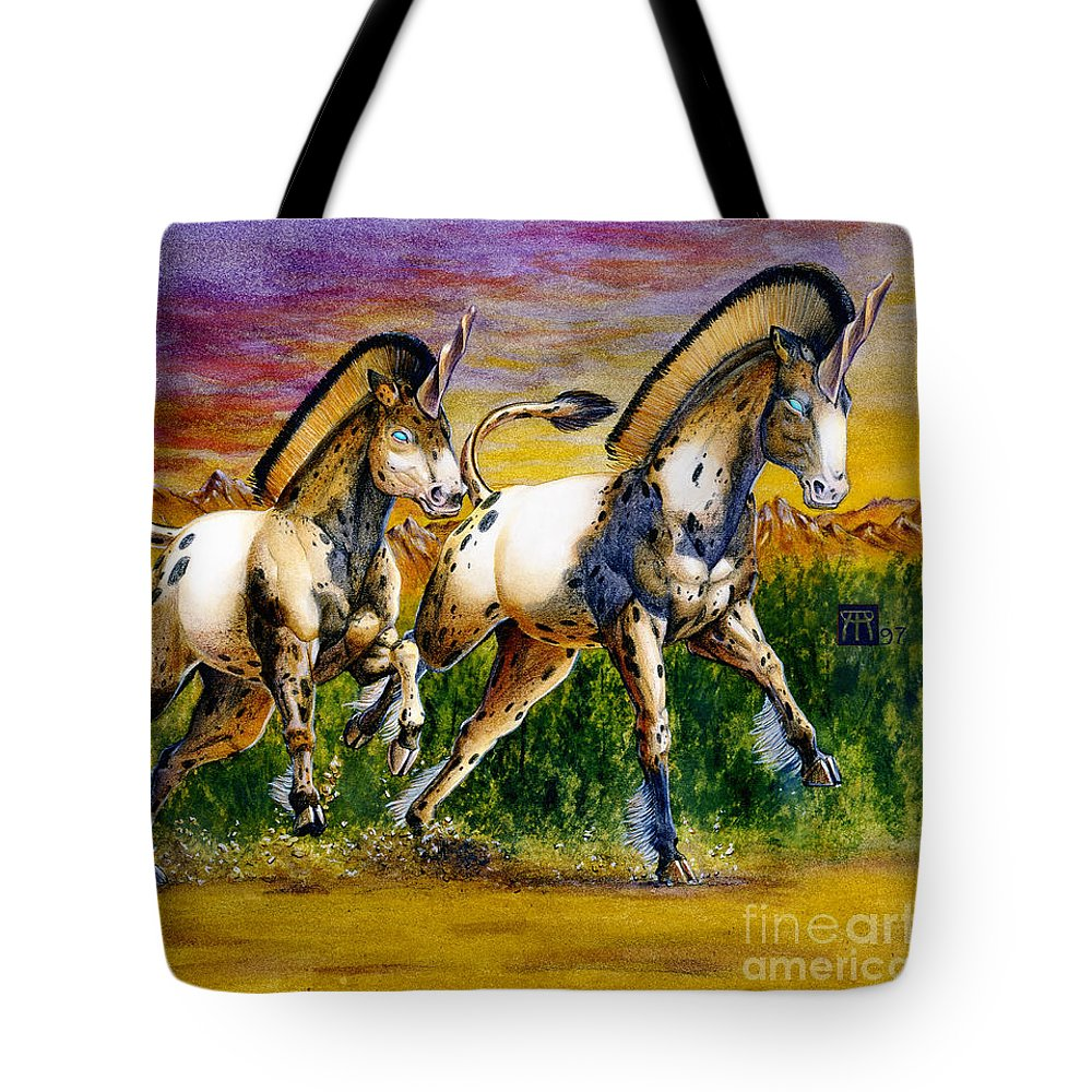 Artwork Tote Bag featuring the painting Unicorns In Sunset by Melissa A Benson