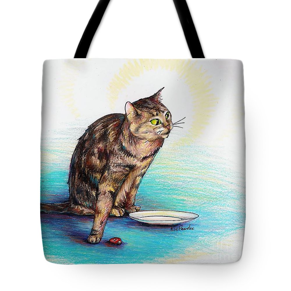 Cat Tote Bag featuring the drawing Uninvited Dinner Guest by K M Pawelec