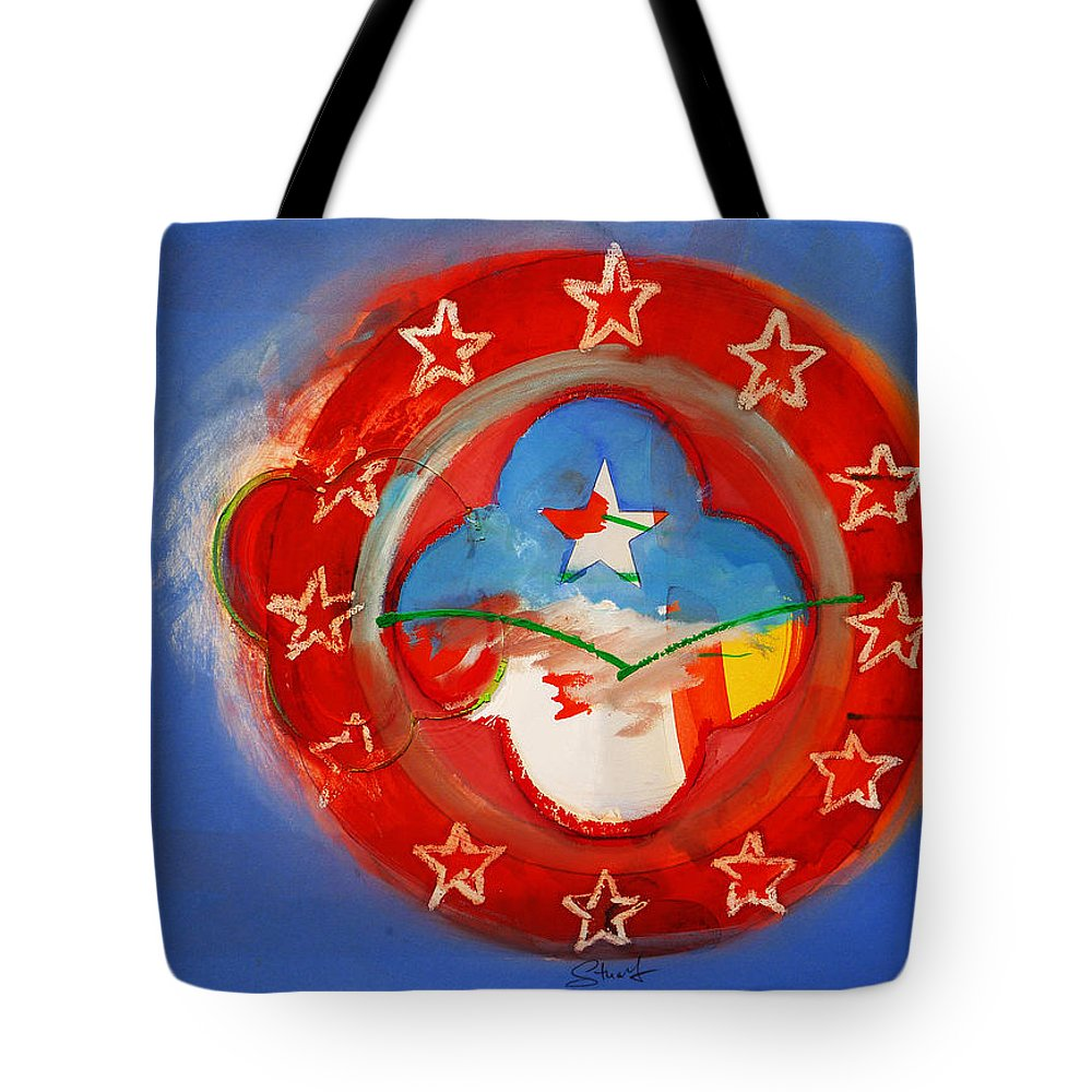 Symbol Tote Bag featuring the painting Union Blue by Charles Stuart