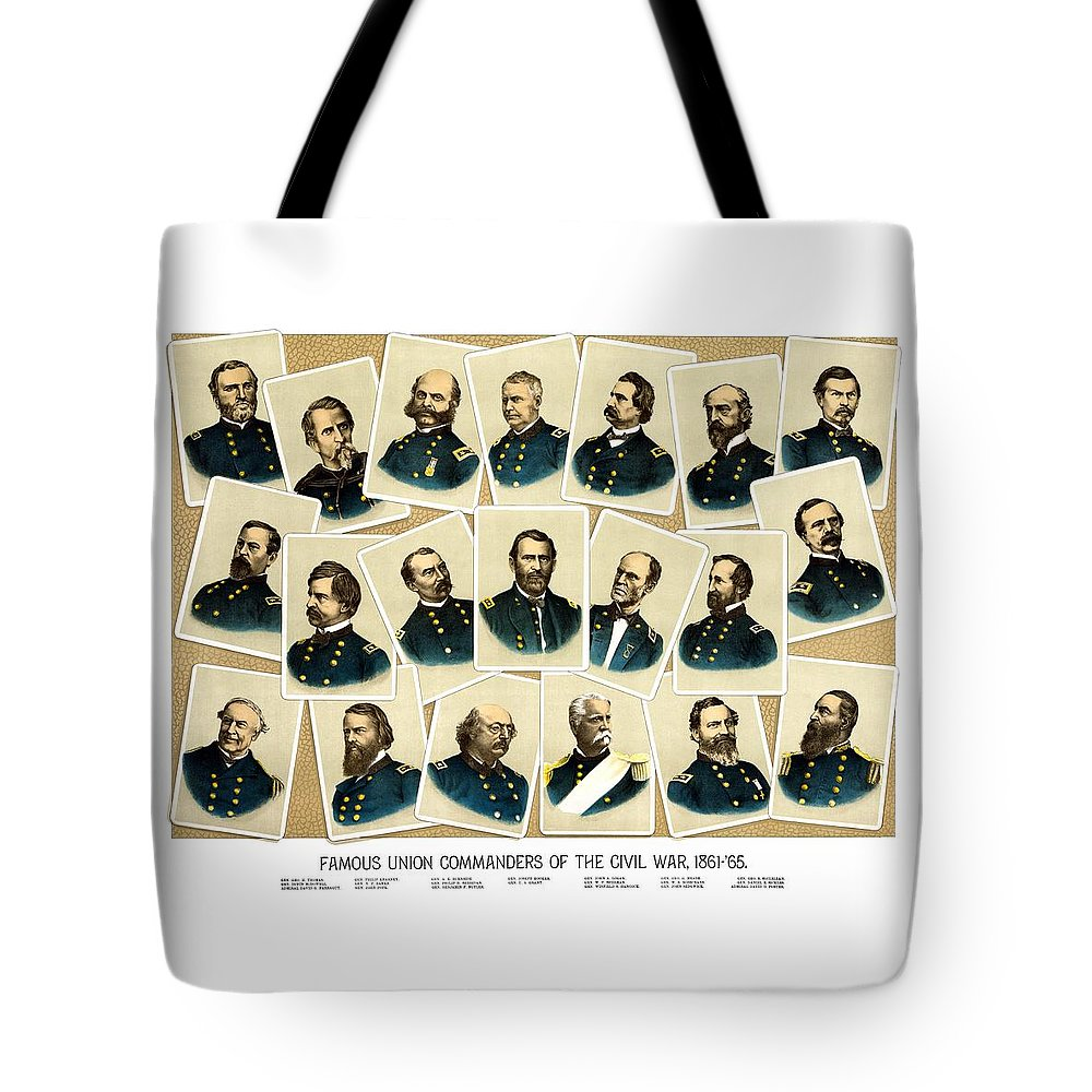 Civil War Tote Bag featuring the painting Union Commanders Of The Civil War by War Is Hell Store