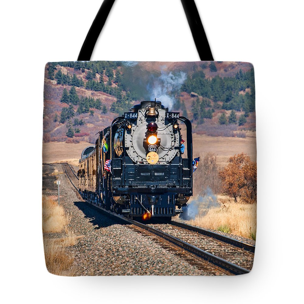 Locomotive Tote Bag featuring the photograph Union Pacific 844 by Alana Thrower