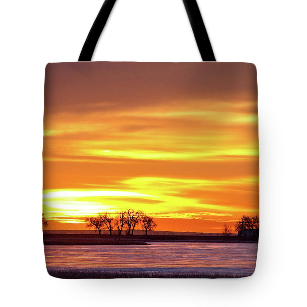 canvas Print Tote Bag featuring the photograph Union Reservoir Sunrise Feb 17 2011 Canvas Print by James BO Insogna