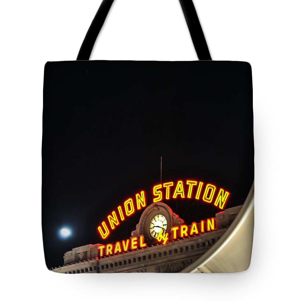 Union Station At Night Time Tote Bag featuring the photograph Union Station by Rhianna Mercier