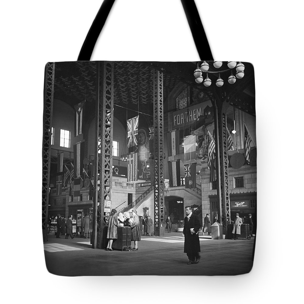 1940s Tote Bag featuring the photograph Union Station Train Concourse by Jack Delano