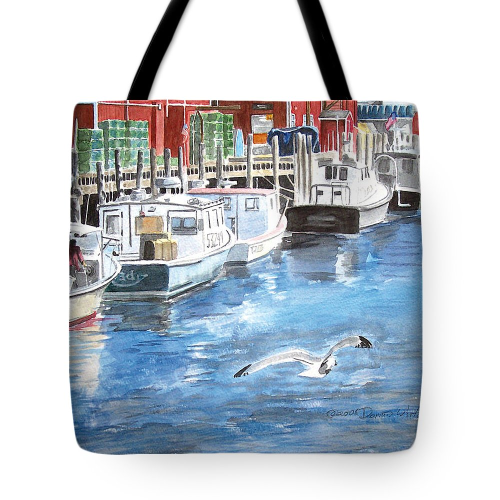 Seagull Tote Bag featuring the painting Union Wharf by Dominic White