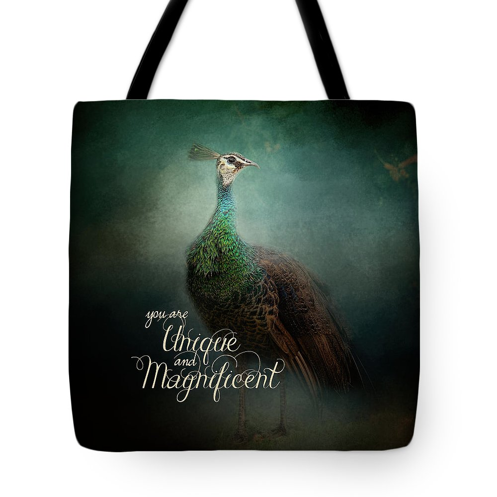 Jai Johnson Tote Bag featuring the photograph Unique And Magnificent - Peacock Art by Jai Johnson