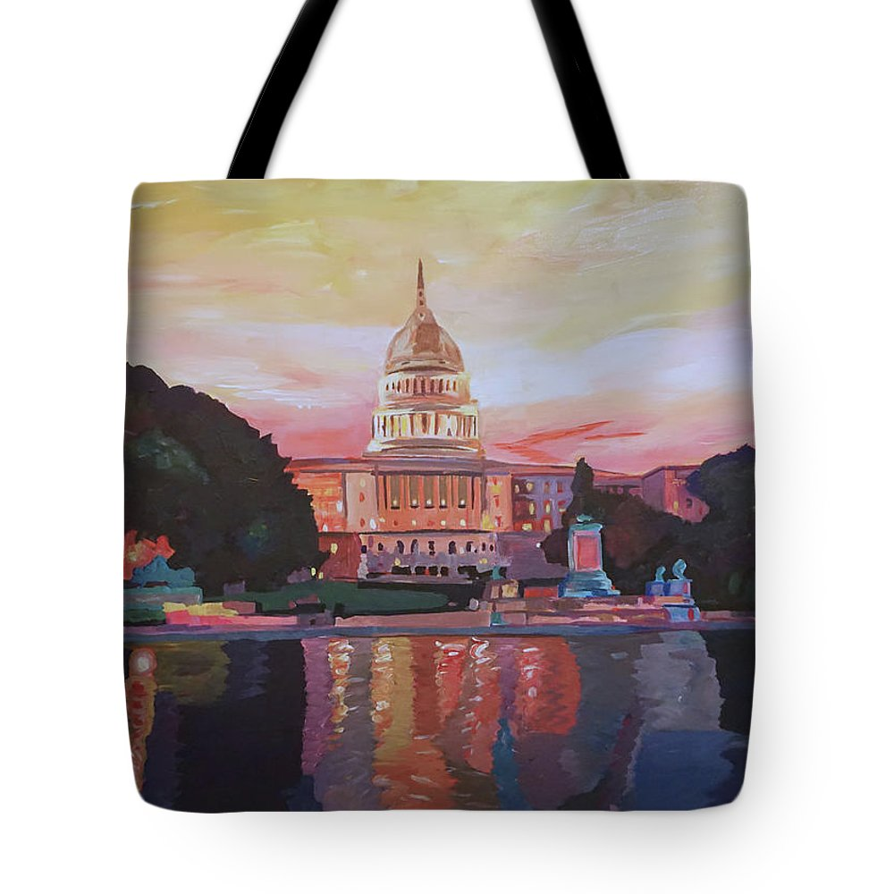 Washington Dc Tote Bag featuring the painting United States Capitol In Washington D.c. At Sunset by M Bleichner