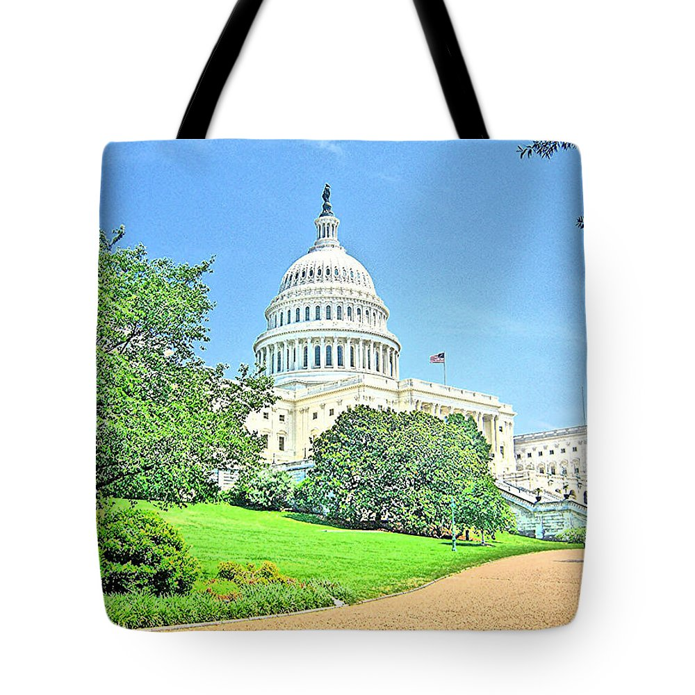 Cityscape Tote Bag featuring the photograph United States Capitol - Washington Dc by Thomas Krappweis