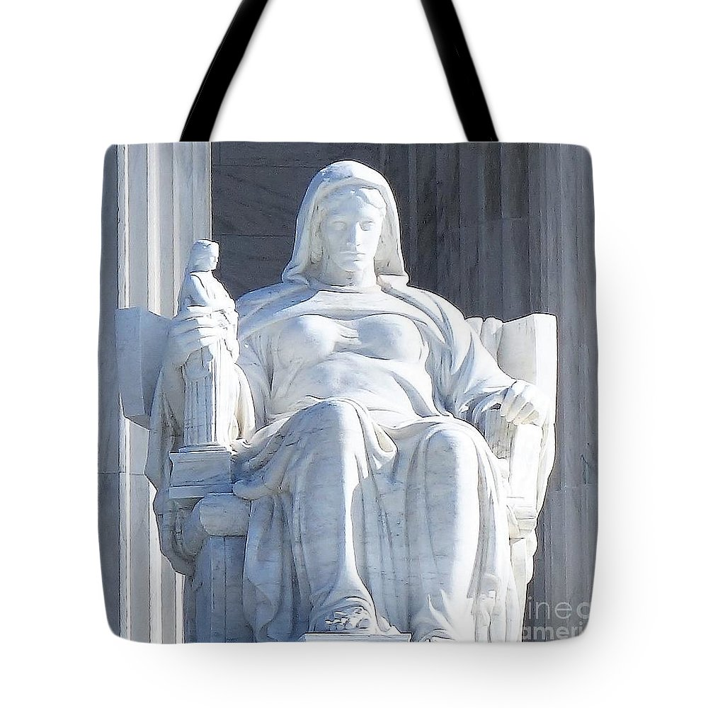 United States Supreme Court Tote Bag featuring the photograph United States Supreme Court, The Contemplation Of Justice Statue, Washington, Dc 2 by Anthony Schafer