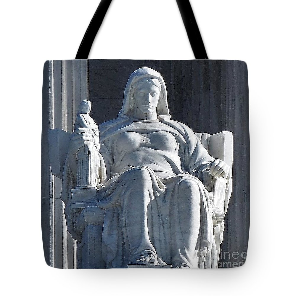United States Supreme Court Tote Bag featuring the photograph United States Supreme Court, The Contemplation Of Justice Statue, Washington, Dc 3 by Anthony Schafer
