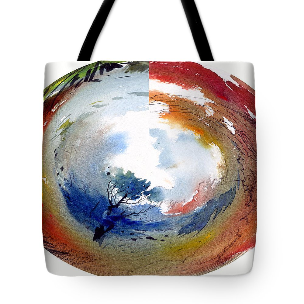 Landscape Water Color Watercolor Digital Mixed Media Tote Bag featuring the painting Universe by Anil Nene