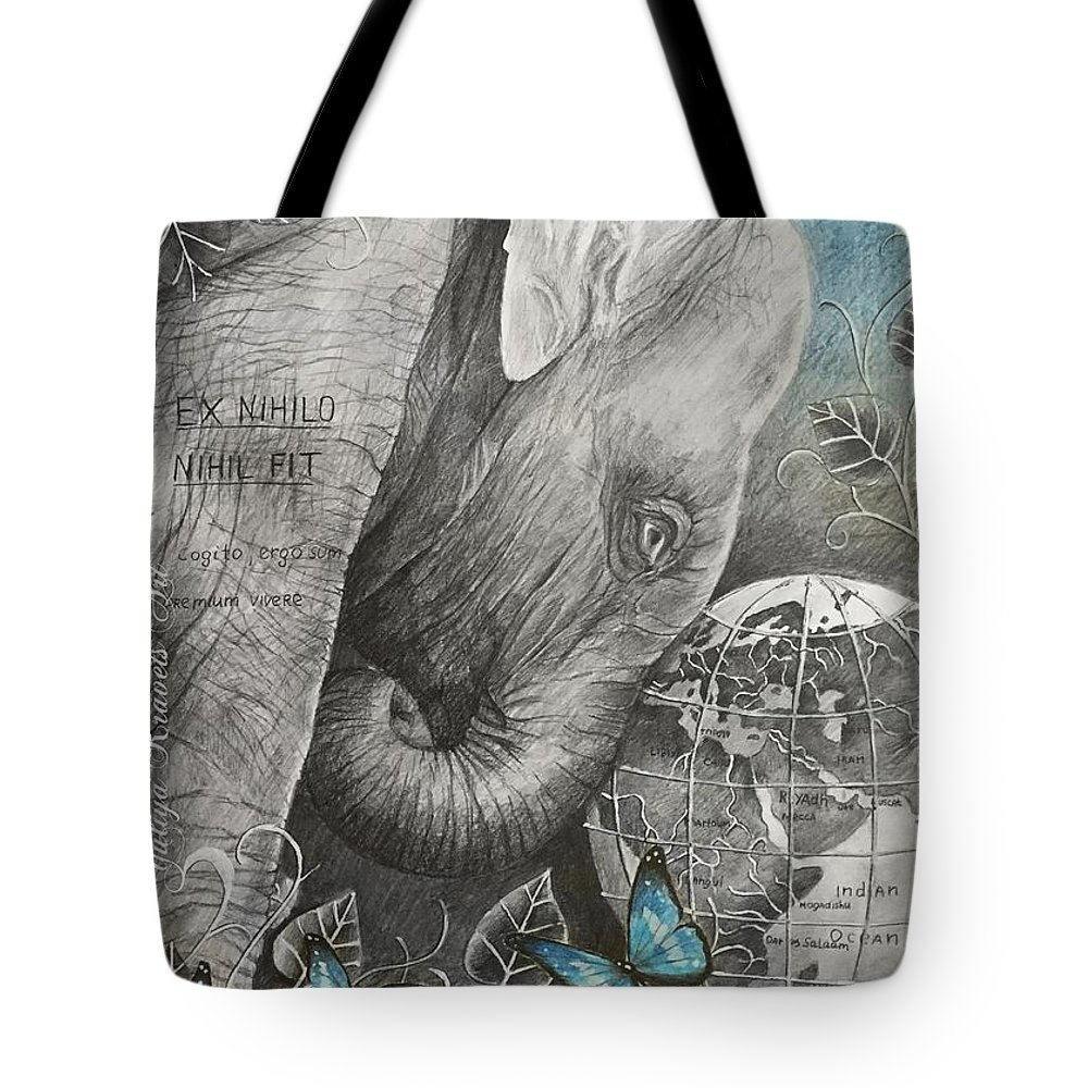 Animals Tote Bag featuring the drawing Universe by Julia Kravets