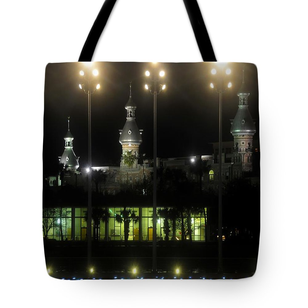 University Of Tampa Tote Bag featuring the photograph University Of Tampa Lights by David Lee Thompson