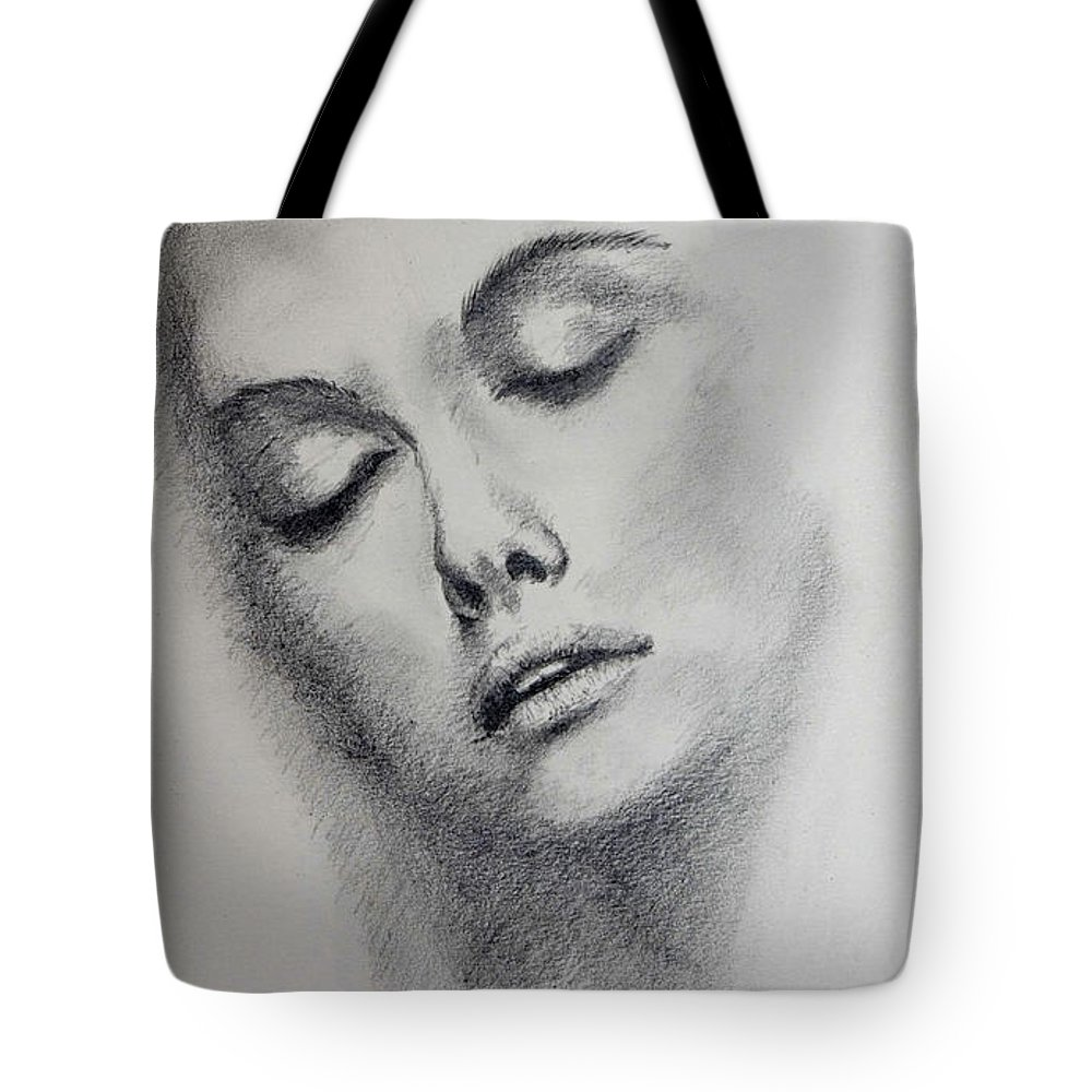 Face Tote Bag featuring the drawing Unknown Model - 3 by Alan Pickersgill
