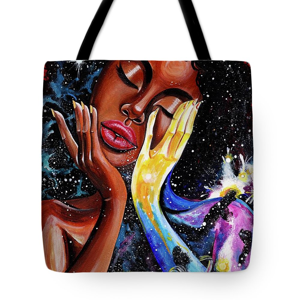 Universe Tote Bag featuring the painting Unlocked U.Never.See.All by Artist RiA