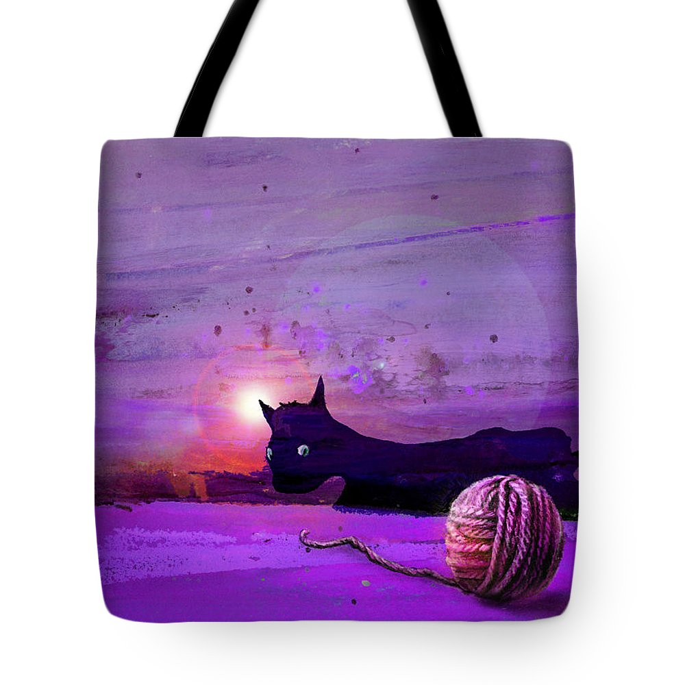 Cats Tote Bag featuring the painting Unravelling by Miki De Goodaboom