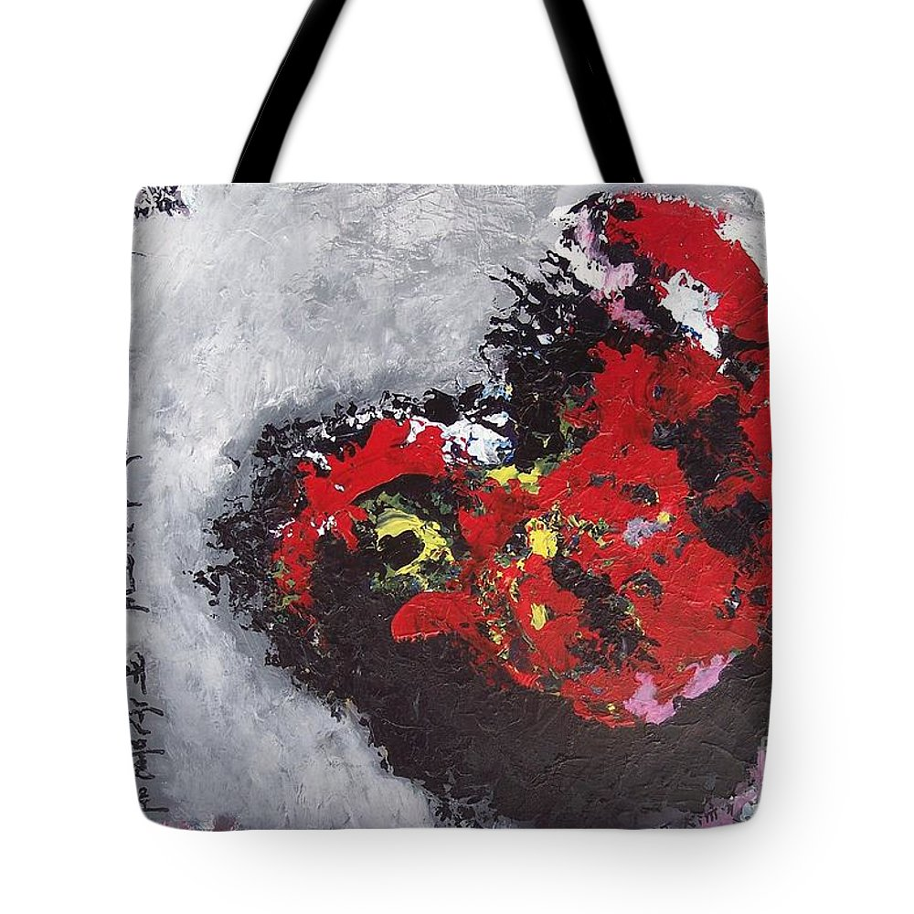 Poetry Paintings Tote Bag featuring the painting Unread Poem Black And Red Paintings by Seon-Jeong Kim