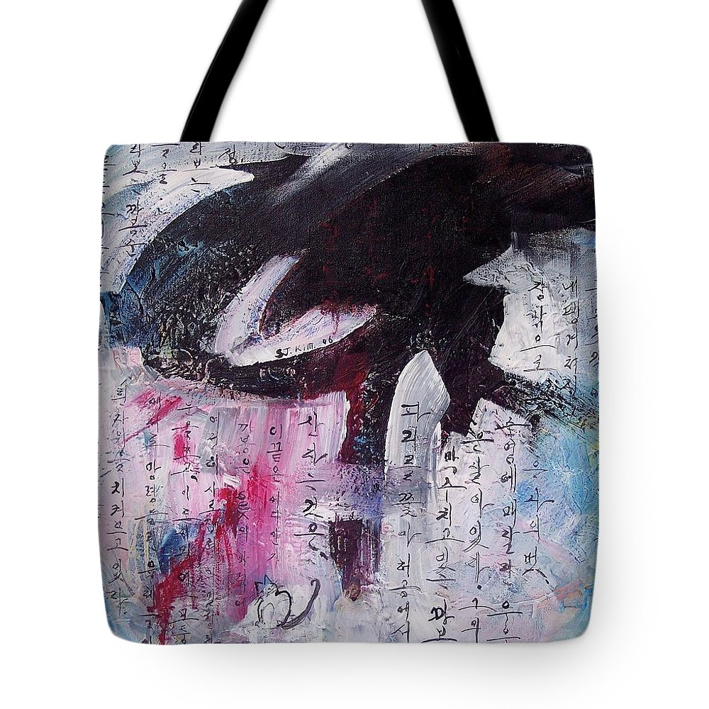 Peom Paintings Paintings Tote Bag featuring the painting Unread Poem Black And White Paintings by Seon-Jeong Kim
