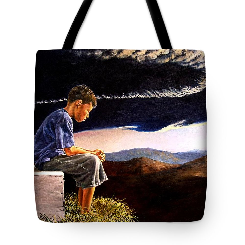 Mountain Tote Bag featuring the painting Unscarred Mountain by Christopher Shellhammer