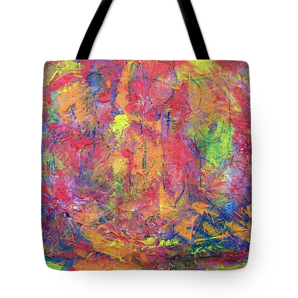 Abstract Tote Bag featuring the painting Unseen Angels Everywhere by Judith Redman