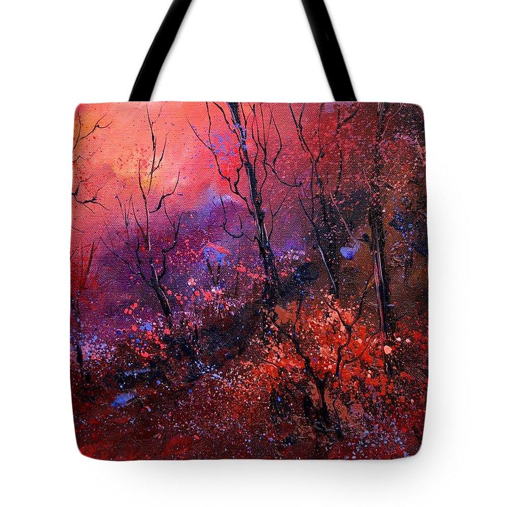 Wood Sunset Tree Tote Bag featuring the painting Unset In The Wood by Pol Ledent