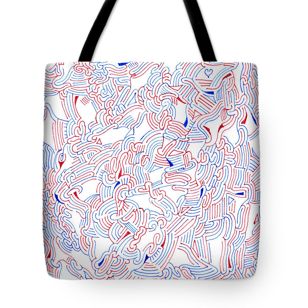 Mazes Tote Bag featuring the drawing Unsettled by Steven Natanson