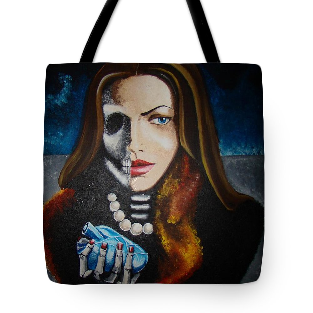 Woman Tote Bag featuring the painting Untitle by Meline Davalos
