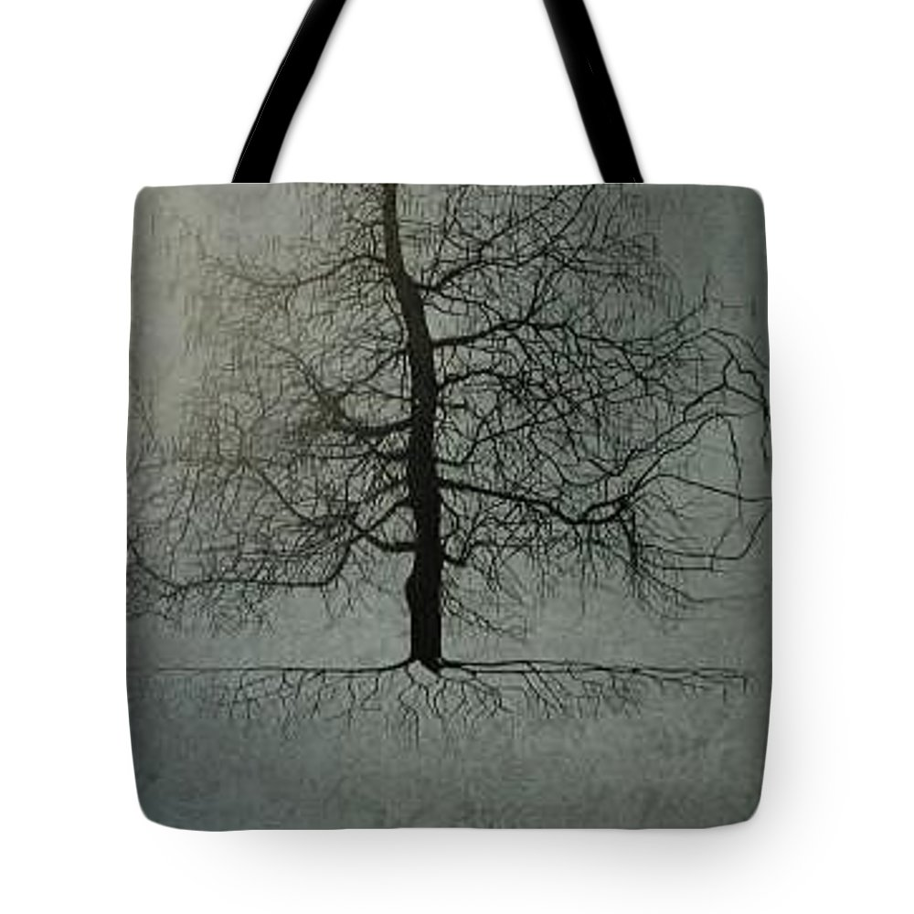 Silhouette Tote Bag featuring the painting Untitled Blue by Leah Tomaino
