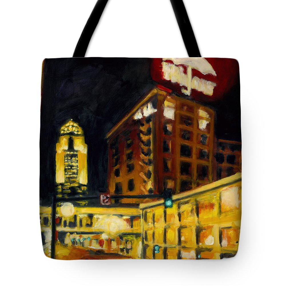 Rob Reeves Tote Bag featuring the painting Untitled In Red And Gold by Robert Reeves