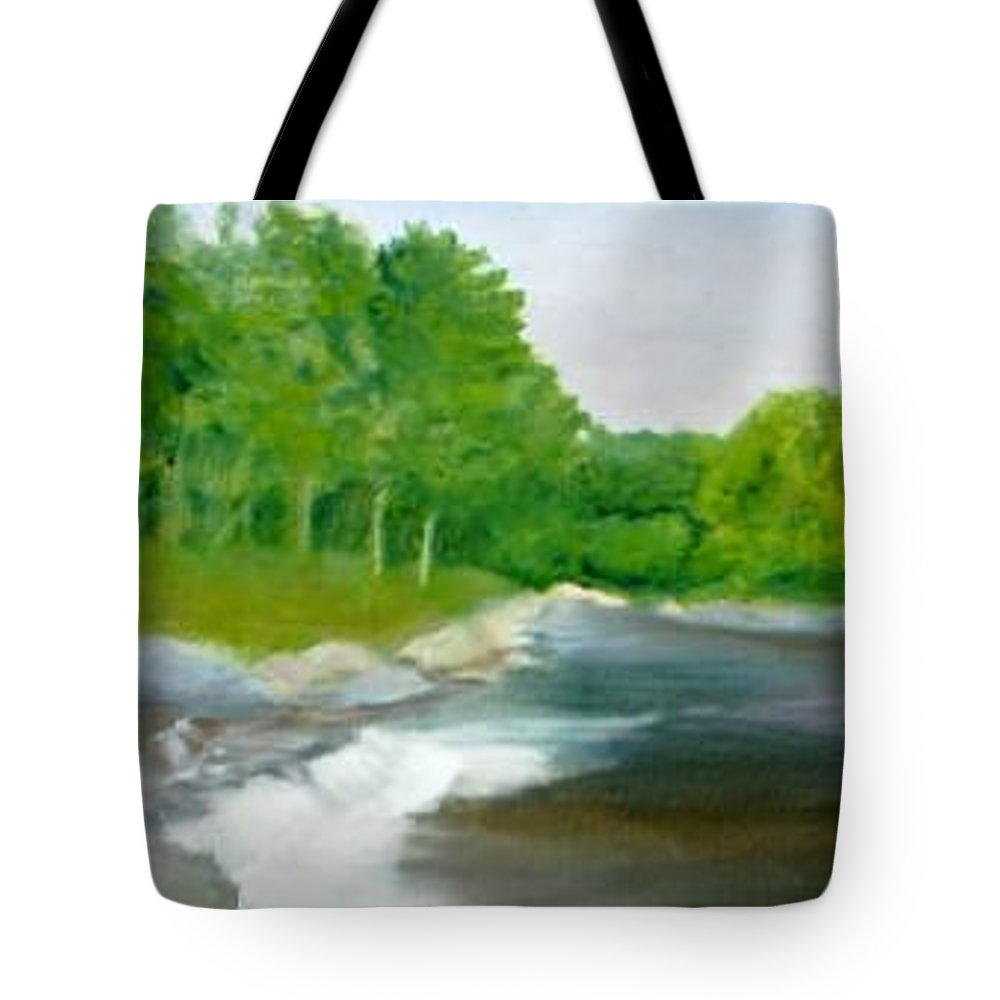 River Tote Bag featuring the painting Untitled Plein Aire by Sheila Mashaw