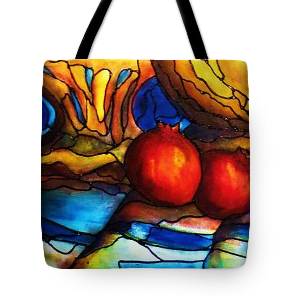 Original Art Tote Bag featuring the painting Still Life With Grapes And Pomegranates by Rae Chichilnitsky