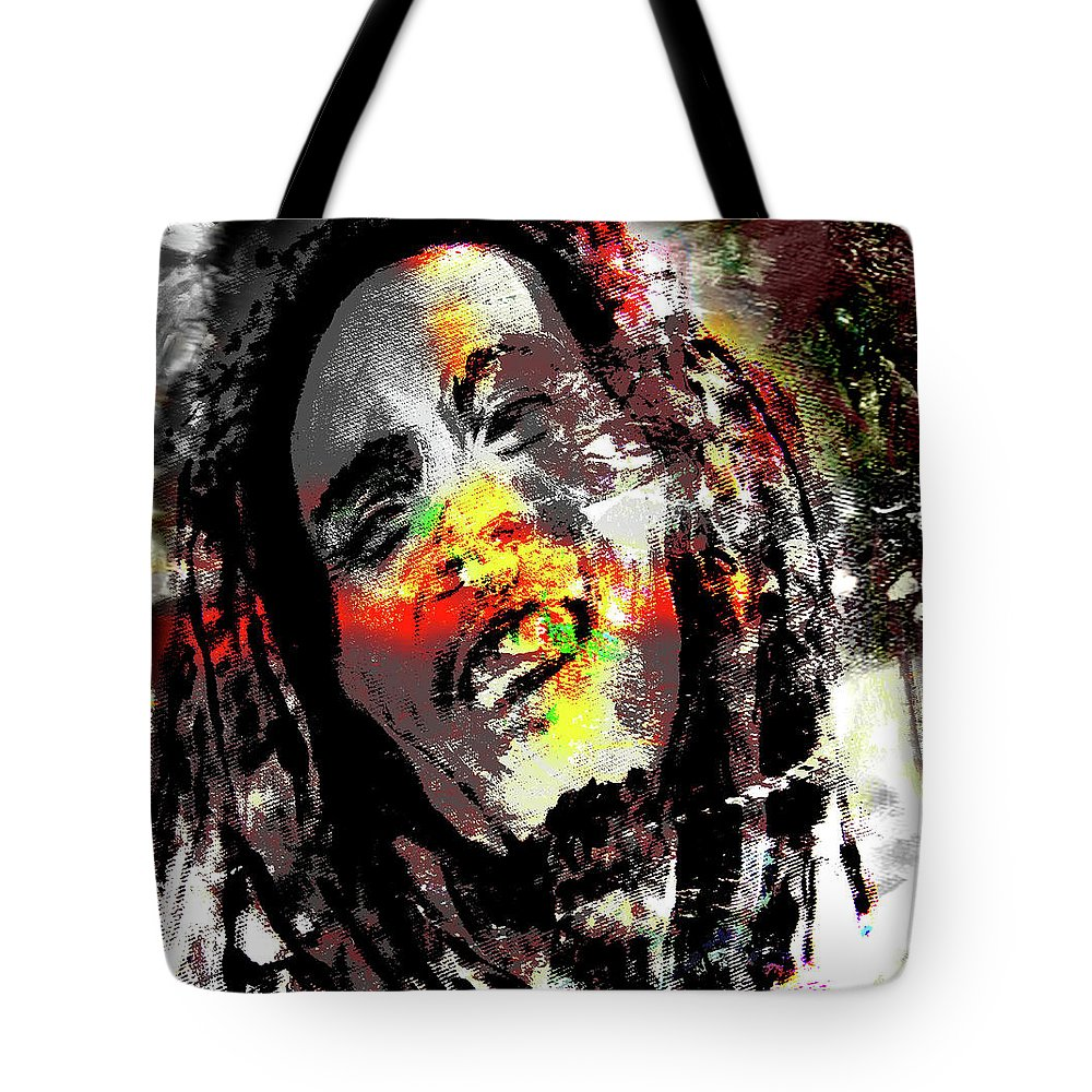Music Tote Bag featuring the digital art Untitled Reduction 3 Bob Marley by Simon Wairiuko