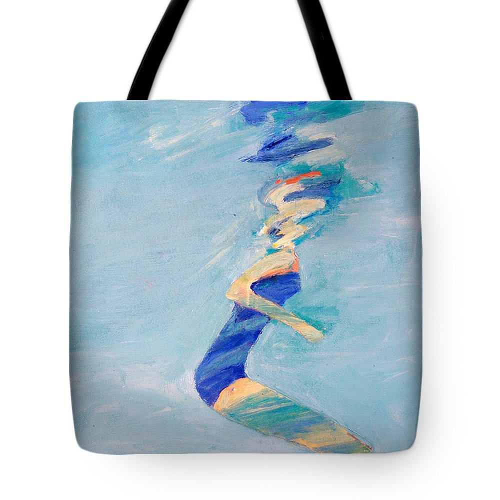 Water Tote Bag featuring the painting Untitled Swimmer by Lisa Baack