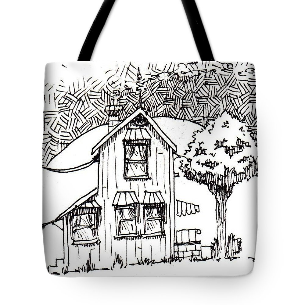 House Tote Bag featuring the drawing Untitled by Tobey Anderson