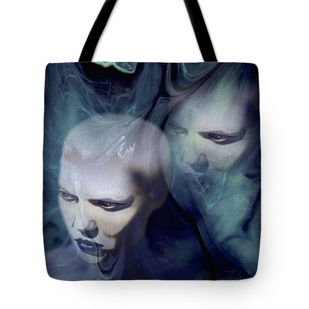 Dream Afterlife Experience Blue Smoke Tote Bag featuring the digital art Untitled by Veronica Jackson