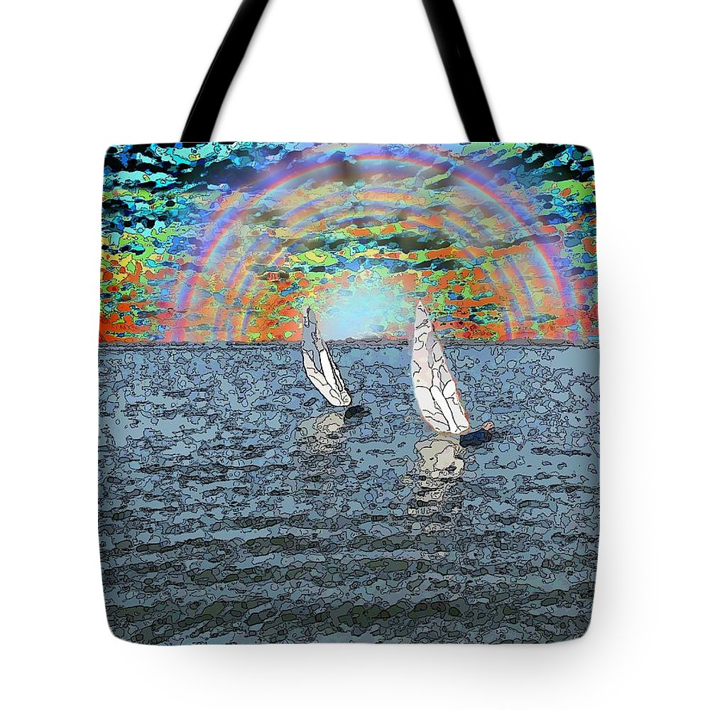 Sunset Tote Bag featuring the digital art Unto The Sunset We Sail My Love by Tim Allen