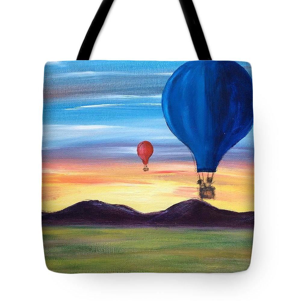 Hot Air Balloon Tote Bag featuring the painting Up And Away by Susan Steever- Peterson