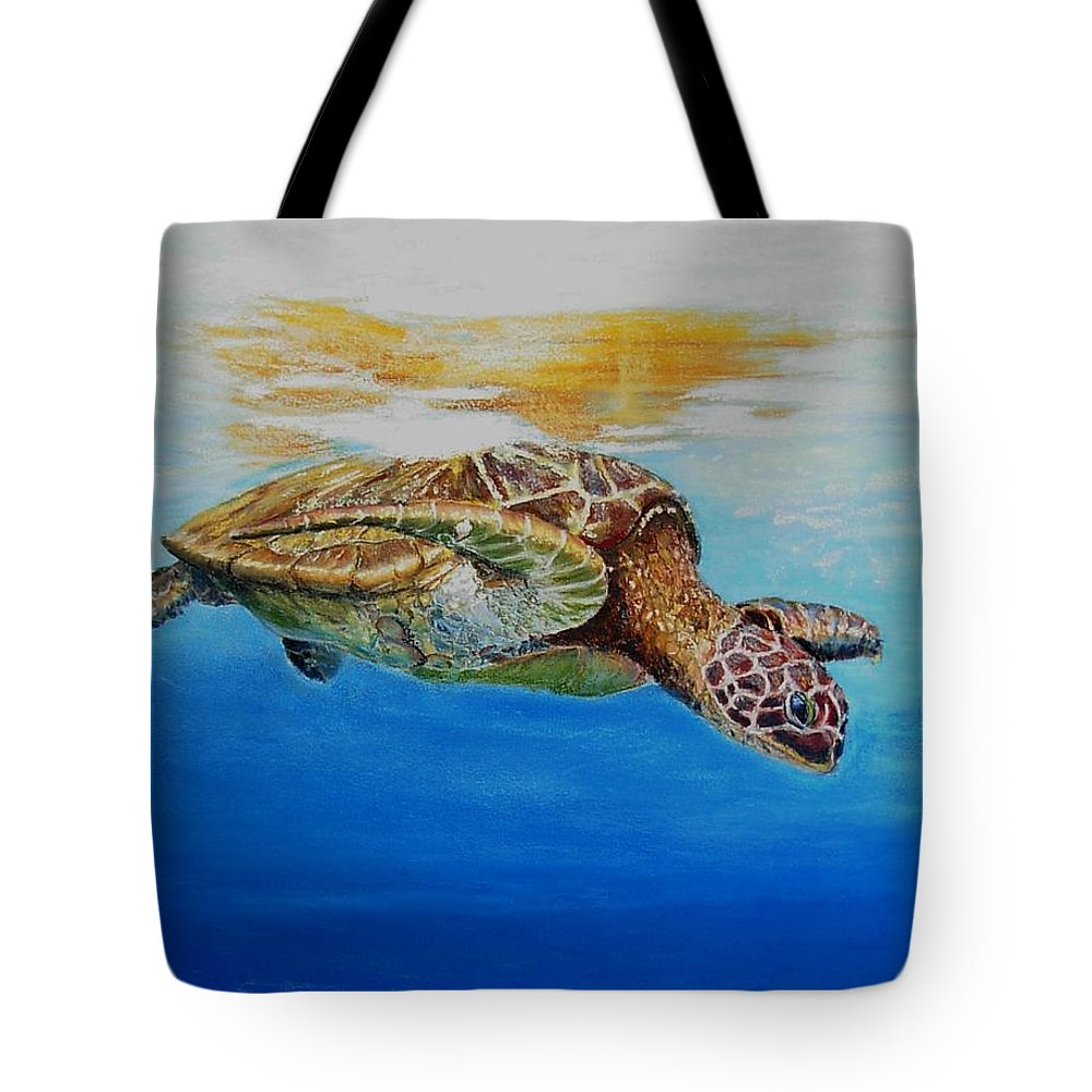 Wildlife Tote Bag featuring the painting Up For Some Rays by Ceci Watson
