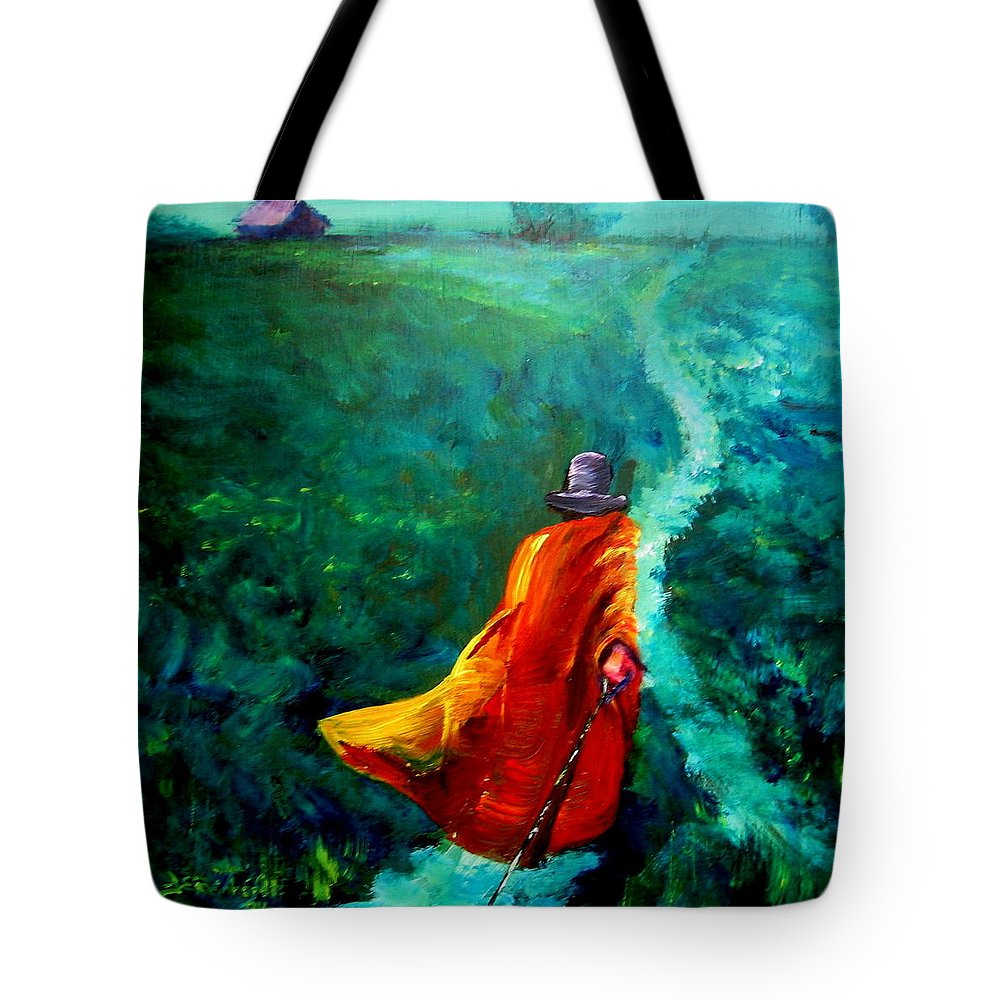 Expressionist Tote Bag featuring the painting Up That Hill by Jason Reinhardt