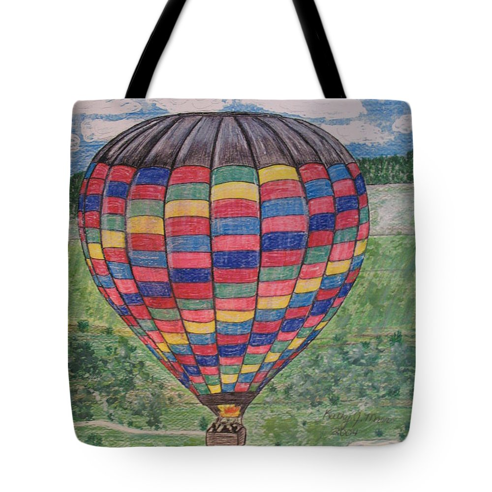 Balloon Ride Tote Bag featuring the painting Up Up And Away by Kathy Marrs Chandler