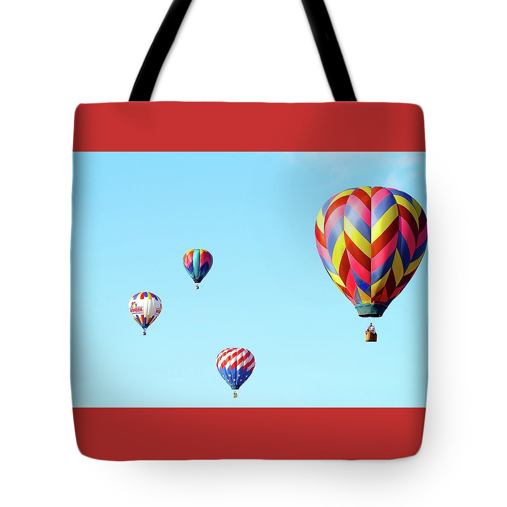 Balloons Tote Bag featuring the photograph Up Up And Away by Linda Cupps