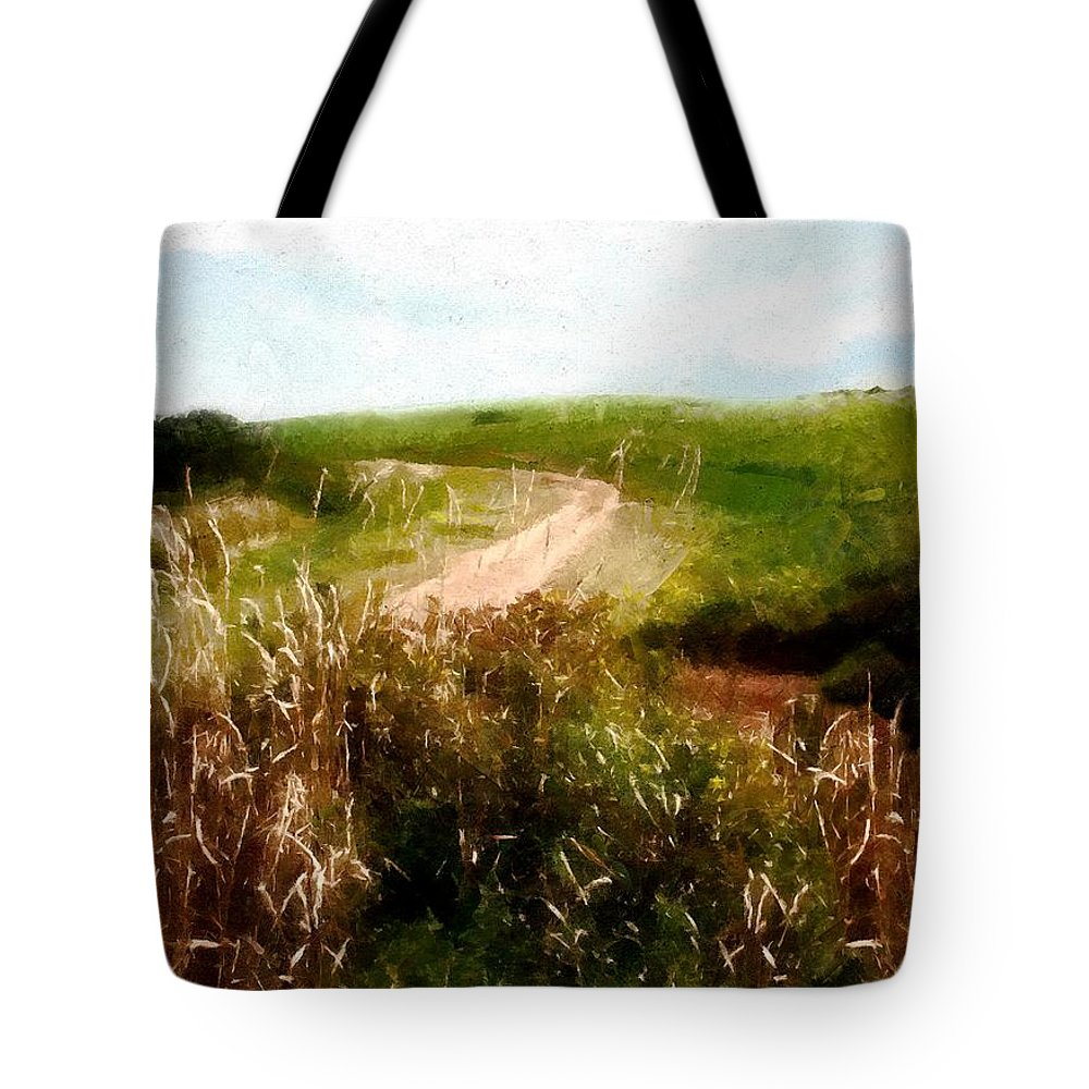 Autumn Tote Bag featuring the painting Uphill Curve by RC DeWinter