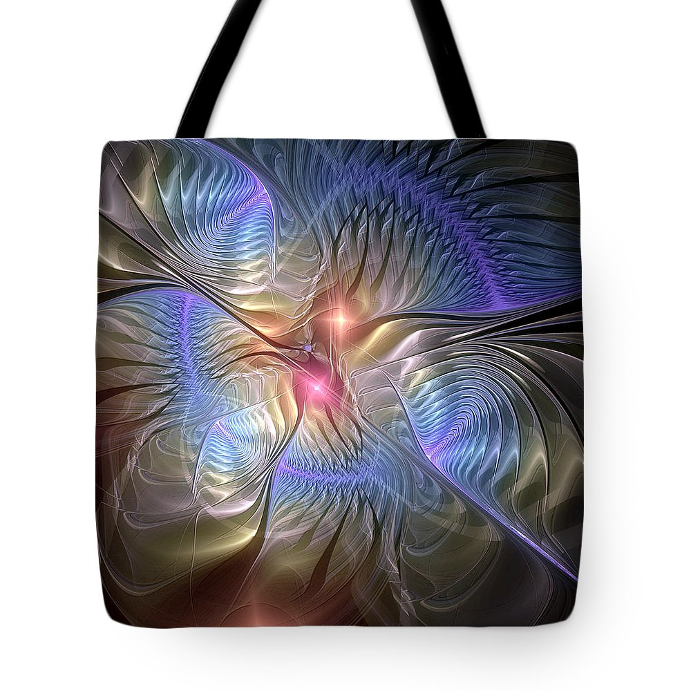 Abstract Tote Bag featuring the digital art Upon The Wings Of Music by Casey Kotas