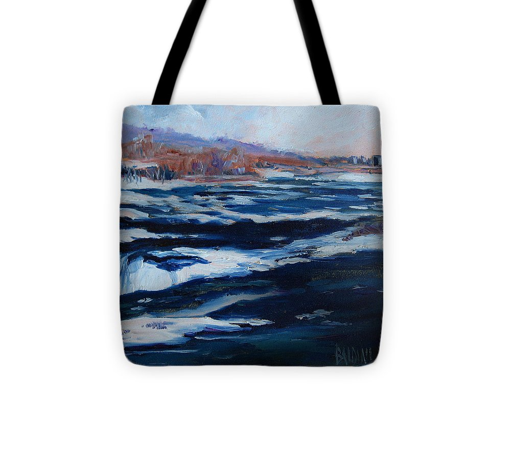 Niagara Falls Tote Bag featuring the painting Upper Rapids Niagara Falls by J R Baldini