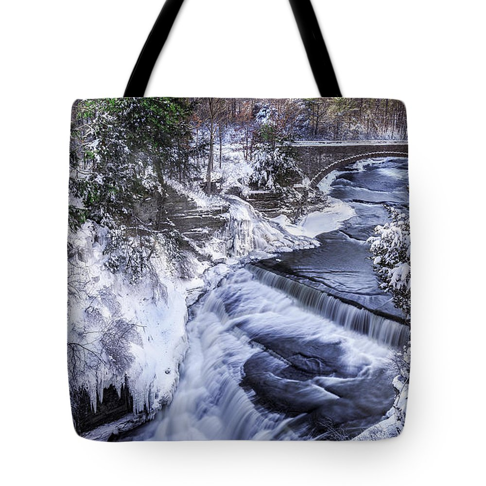 Taughannock Falls Tote Bag featuring the photograph Upper Taughannock Winter by Mark Papke