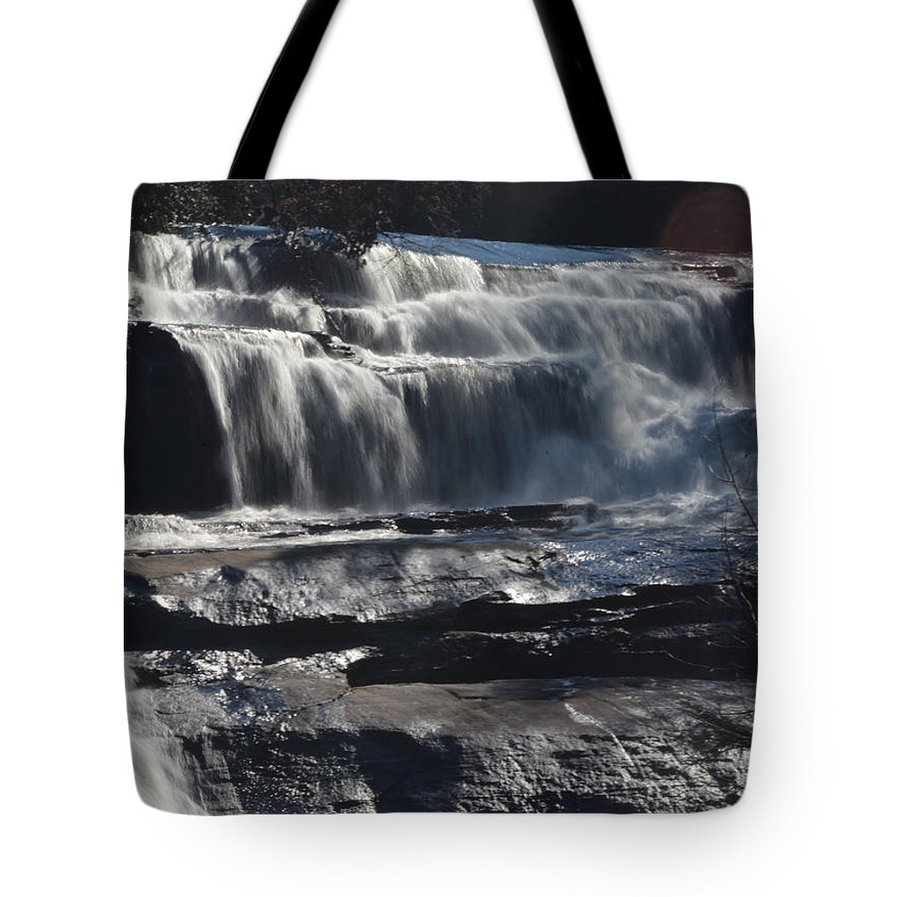 Waterfalls In North Carolina Tote Bag featuring the photograph Upperfalls by Mike Fairchild