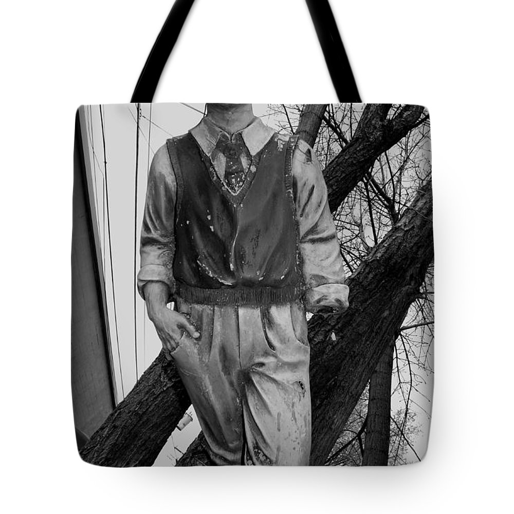 Black And White Photography Tote Bag featuring the photograph Upright In An Askew World by Kirk Griffith
