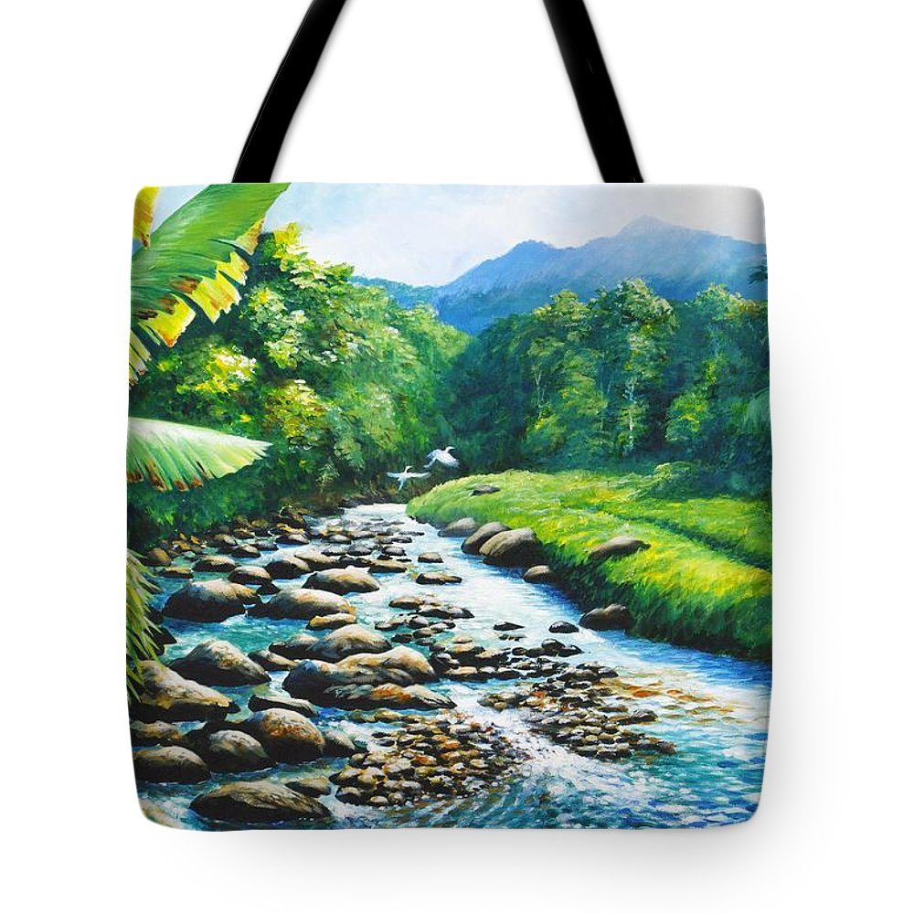 Chris Cox Tote Bag featuring the painting Upriver by Christopher Cox