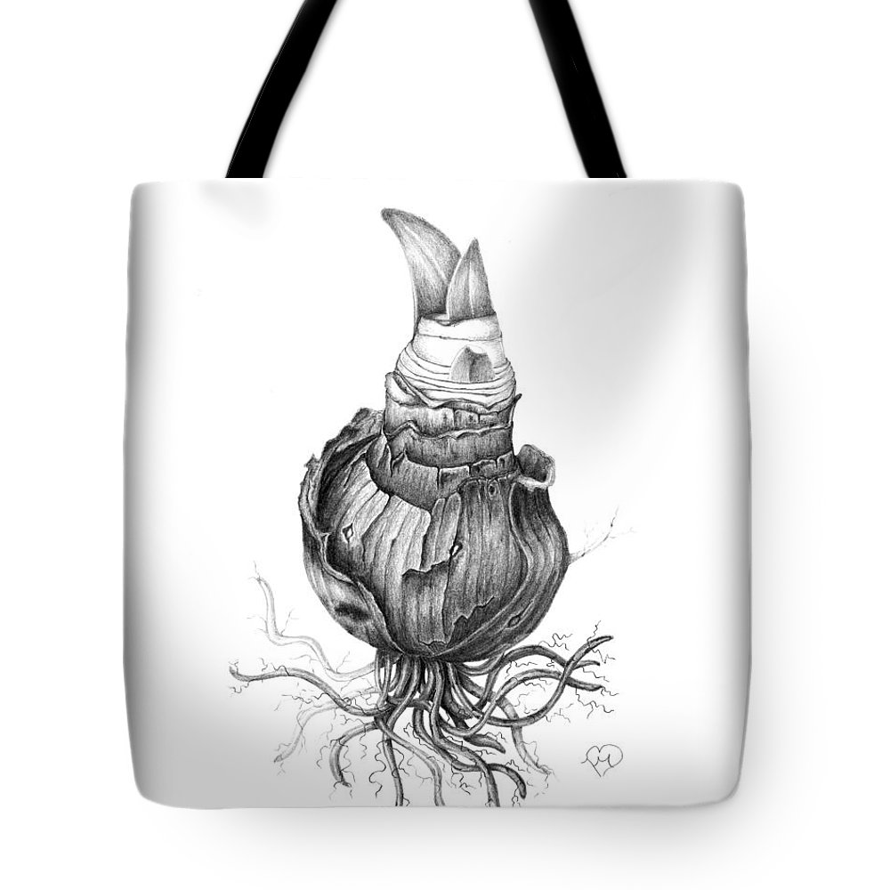Amaryllis Tote Bag featuring the drawing Uprooted by Becky Eileen Eller