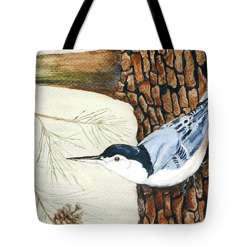 Nuthatch Tote Bag featuring the painting Upside Down by Debra Sandstrom